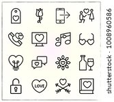 valentine's day line icons set... | Shutterstock .eps vector #1008960586