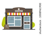 coffee shop building facade.... | Shutterstock .eps vector #1008961900