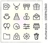 valentine's day line icons set... | Shutterstock .eps vector #1008962860