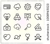 valentine's day line icons set... | Shutterstock .eps vector #1008965023