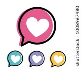 Heart in a speech bubble set. Valentine heart symbol vector