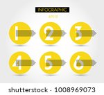 six yellow circles with numbers ... | Shutterstock .eps vector #1008969073