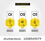 three yellow info hexagons with ... | Shutterstock .eps vector #1008969079