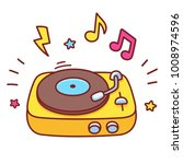 cartoon hand drawn retro vinyl... | Shutterstock .eps vector #1008974596