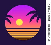 retro style tropical sunset... | Shutterstock .eps vector #1008974650