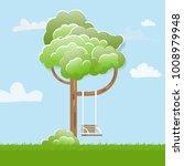 swing on tree in park. funny... | Shutterstock . vector #1008979948