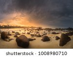 tropical beach with rocks on... | Shutterstock . vector #1008980710
