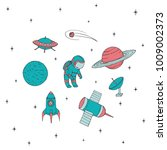 hand drawn vector space... | Shutterstock .eps vector #1009002373