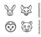 monoline animal faces   set of... | Shutterstock .eps vector #1009004950