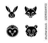 monoline animal faces   set of... | Shutterstock .eps vector #1009004953