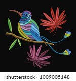 embriodary stitch humming bird... | Shutterstock .eps vector #1009005148