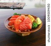 Small photo of raw mackerel and raw salmon or sashimi or Japanese food