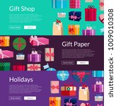 vector horizontal banners with... | Shutterstock .eps vector #1009010308