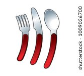 curved fork  spoon and knife... | Shutterstock .eps vector #1009026700