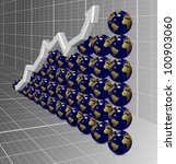 a chart arrow going up with earth globes in the background / global upward chart - stock photo