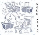 set icons carts and baskets ... | Shutterstock .eps vector #1009030636