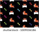 background vector cartoon corgi ... | Shutterstock .eps vector #1009036186