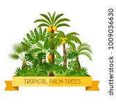 card with tropical palm trees.... | Shutterstock .eps vector #1009036630
