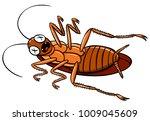 vector cartoon dead cockroach  | Shutterstock .eps vector #1009045609