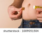 fat belly. man with overweight... | Shutterstock . vector #1009051504