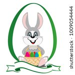 cute easter bunny with a basket ... | Shutterstock .eps vector #1009054444