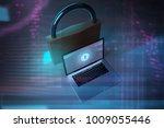 notebook an big lock  3d... | Shutterstock . vector #1009055446