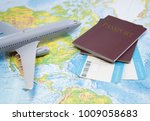 boarding pass  passport  plane... | Shutterstock . vector #1009058683
