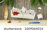 Sofa Floats Over Sand On The...
