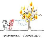 cartoon fireman and burning tree   Shutterstock .eps vector #1009066078