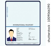 Stock photo raster illustration passport with biometric data identification document international passport 1009066390