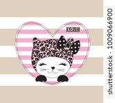 cute cat cartoon  love card...   Shutterstock .eps vector #1009066900