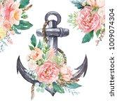 watercolor hand drawn nautical  ... | Shutterstock . vector #1009074304