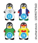 series of penguins numbered...   Shutterstock .eps vector #1009079560