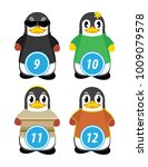 series of penguins numbered... | Shutterstock .eps vector #1009079578
