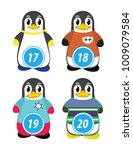 series of penguins numbered... | Shutterstock .eps vector #1009079584