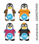 series of penguins numbered... | Shutterstock .eps vector #1009079590