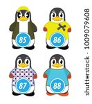 series of penguins numbered... | Shutterstock .eps vector #1009079608