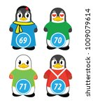 series of penguins numbered... | Shutterstock .eps vector #1009079614