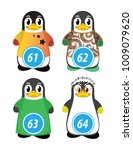 series of penguins numbered... | Shutterstock .eps vector #1009079620