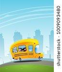 school bus with children. back... | Shutterstock .eps vector #1009093480