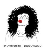 hand drawn black woman with... | Shutterstock .eps vector #1009096030