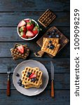 home made belgian waffles... | Shutterstock . vector #1009098259