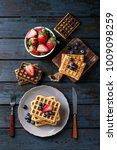 home made belgian waffles...   Shutterstock . vector #1009098259