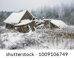Winter. Lonely Abandoned House. ...