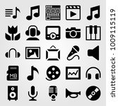 multimedia vector icon set.... | Shutterstock .eps vector #1009115119