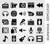 multimedia vector icon set. man ... | Shutterstock .eps vector #1009115164