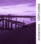 old violet colored fishing pier ... | Shutterstock . vector #1009116868