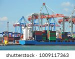 port cargo crane  ship and... | Shutterstock . vector #1009117363