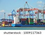 port cargo crane  ship and... | Shutterstock . vector #1009117363