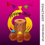 happy holi greeting card dholak ... | Shutterstock .eps vector #1009129453